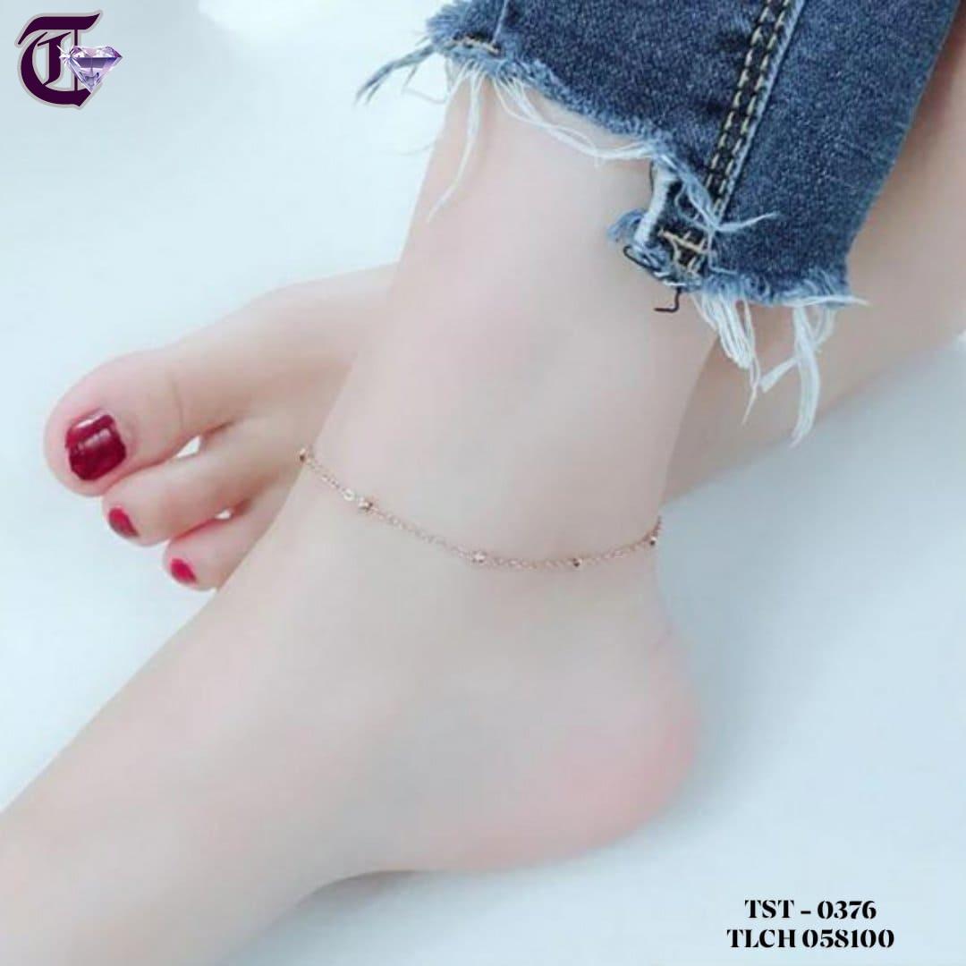 LẮC CHÂN TITAN CHỮ CONG BI CÁCH ĐIỆU VÀNG HỒNG TLCH 0376