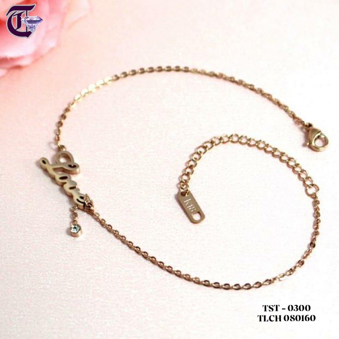 LẮC CHÂN TITAN CHỮ LOVE THỜI TRANG HQ MÀU VÀNG HỒNG TLCH 0300