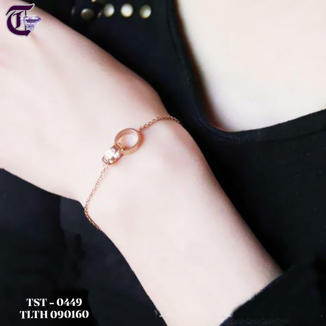 LẮC TAY NỮ TITAN 2 KHOEN TRÒN CARTIER LOVE VÀNG HỒNG TLTH 049