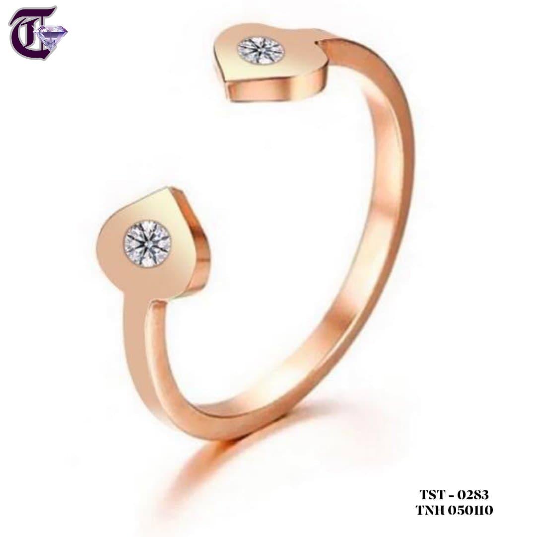 NHẪN TITAN 2 TRÁI TIM MẠ MÀU HỒNG TNH 0283