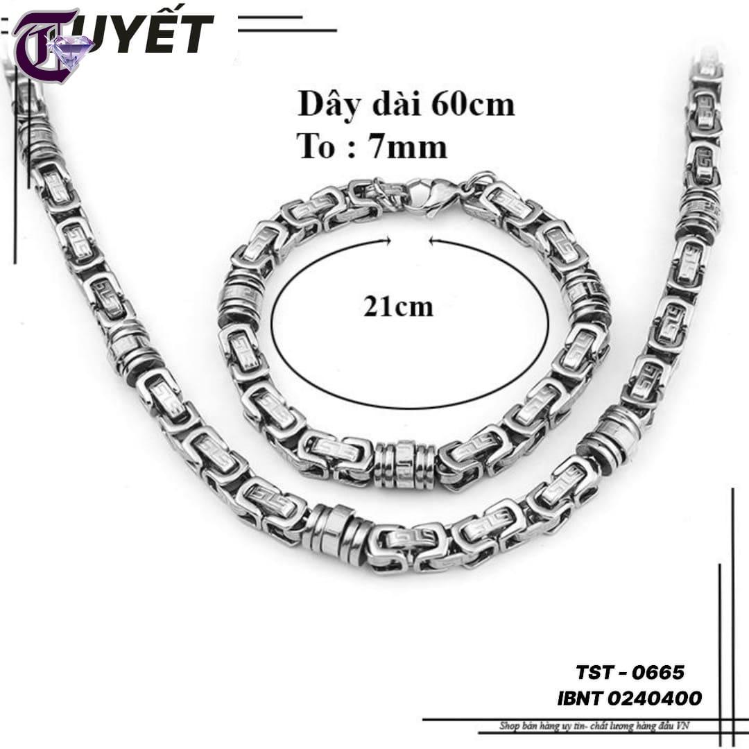BỘ TRANG SỨC NAM DÂY CHUYỀN VÀ LẮC INOX IBNT 0665