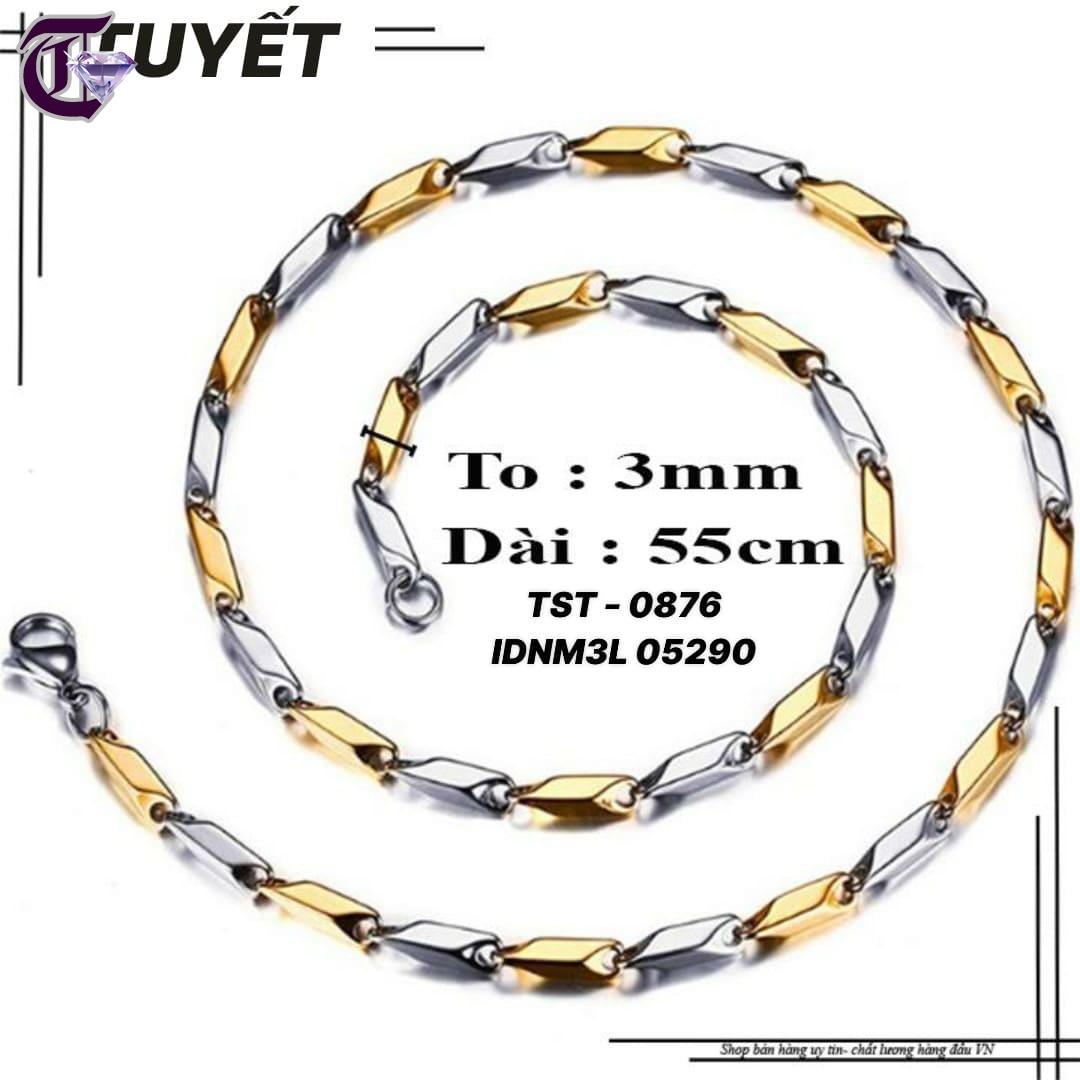 DÂY CHUYỀN NAM INOX HỎA TIỂN 3MM TRƠN TRẮNG VÀNG IDNM 0876