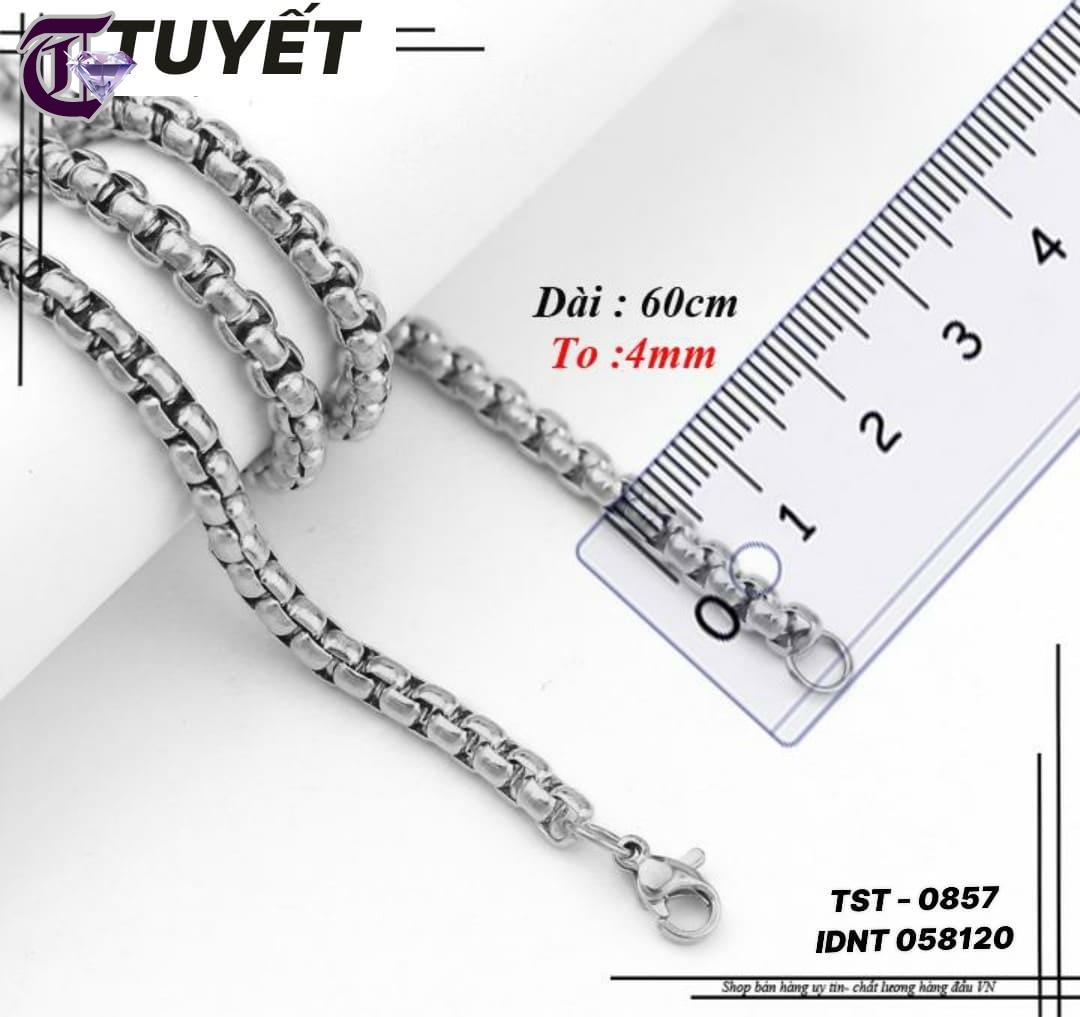 DÂY CHUYỀN INOX NAM 4MM BÔNG DỪA KHÍT IDNT 0857