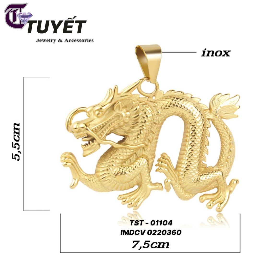 MẶT DÂY CHUYỀN CON RỒNG INOX MẠ VÀNG IMDCV 01004