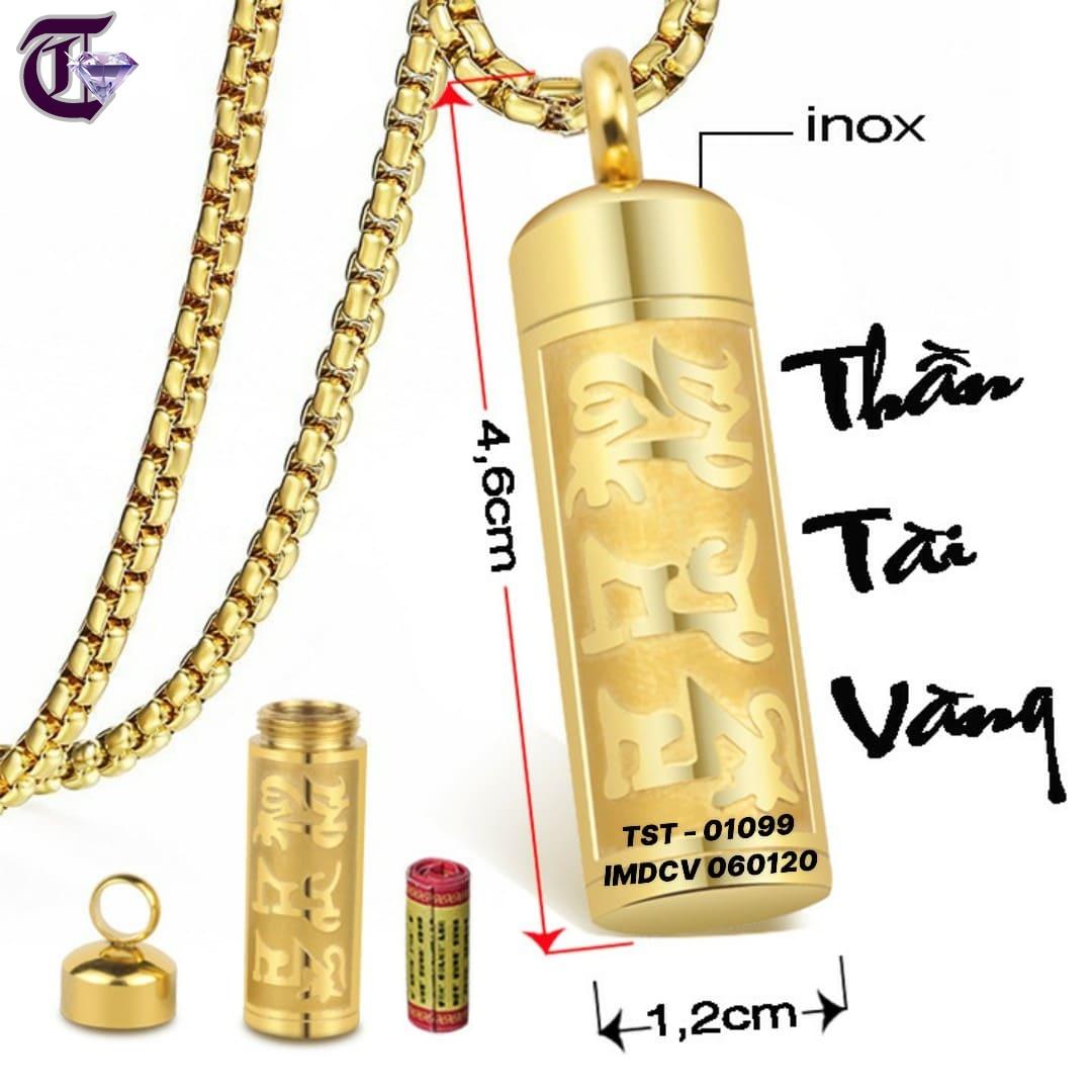 MẶT DÂY CHUYỀN INOX TRỤ RỔNG THẦN TÀI VÀNG IMDCV 01099