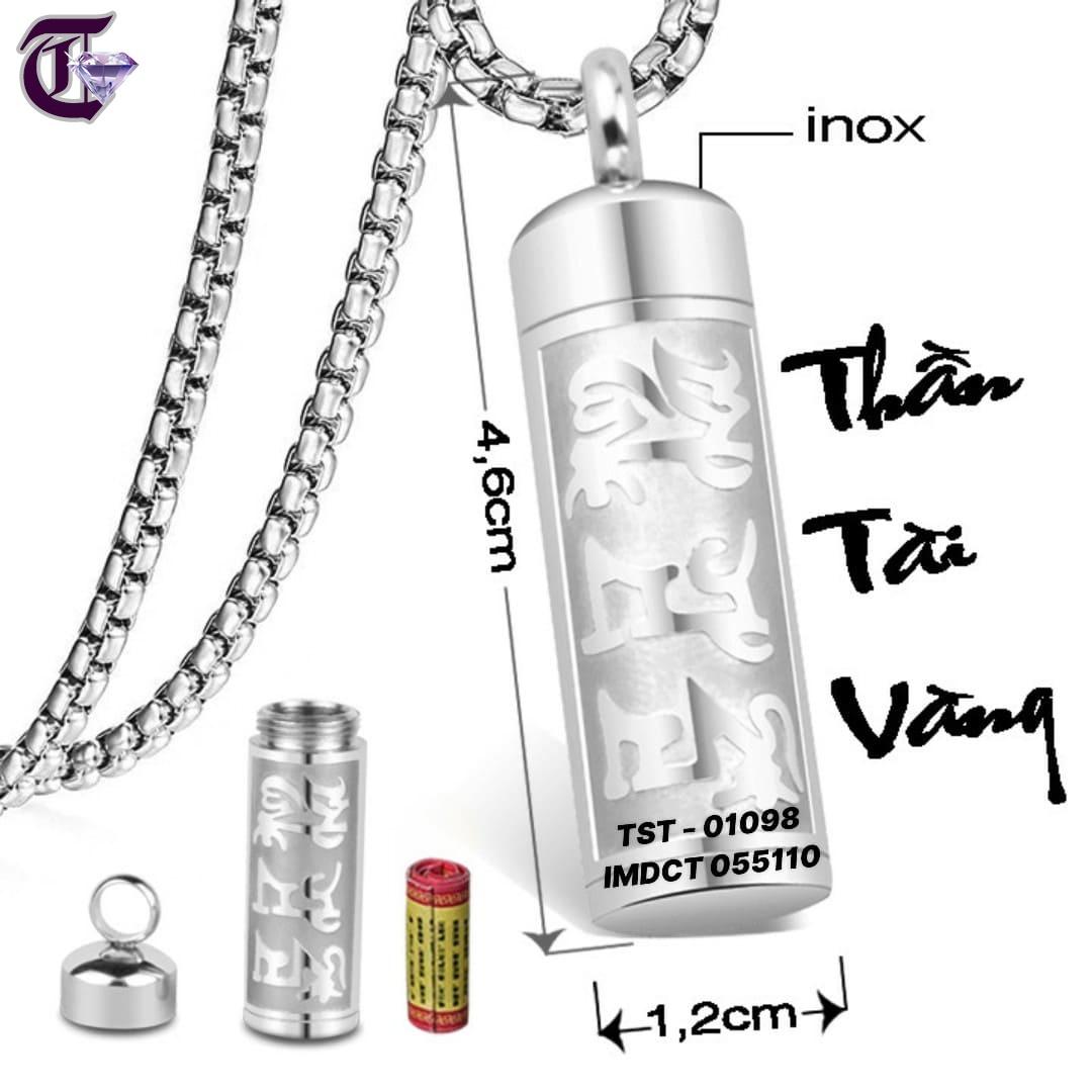 MẶT DÂY CHUYỀN INOX TRỤ RỔNG ĐỰNG KINH CHÚ IMDCT 01098