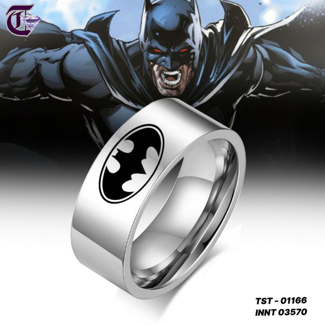 NHẪN INOX BATMAN BẢNG TO 8MM 01166