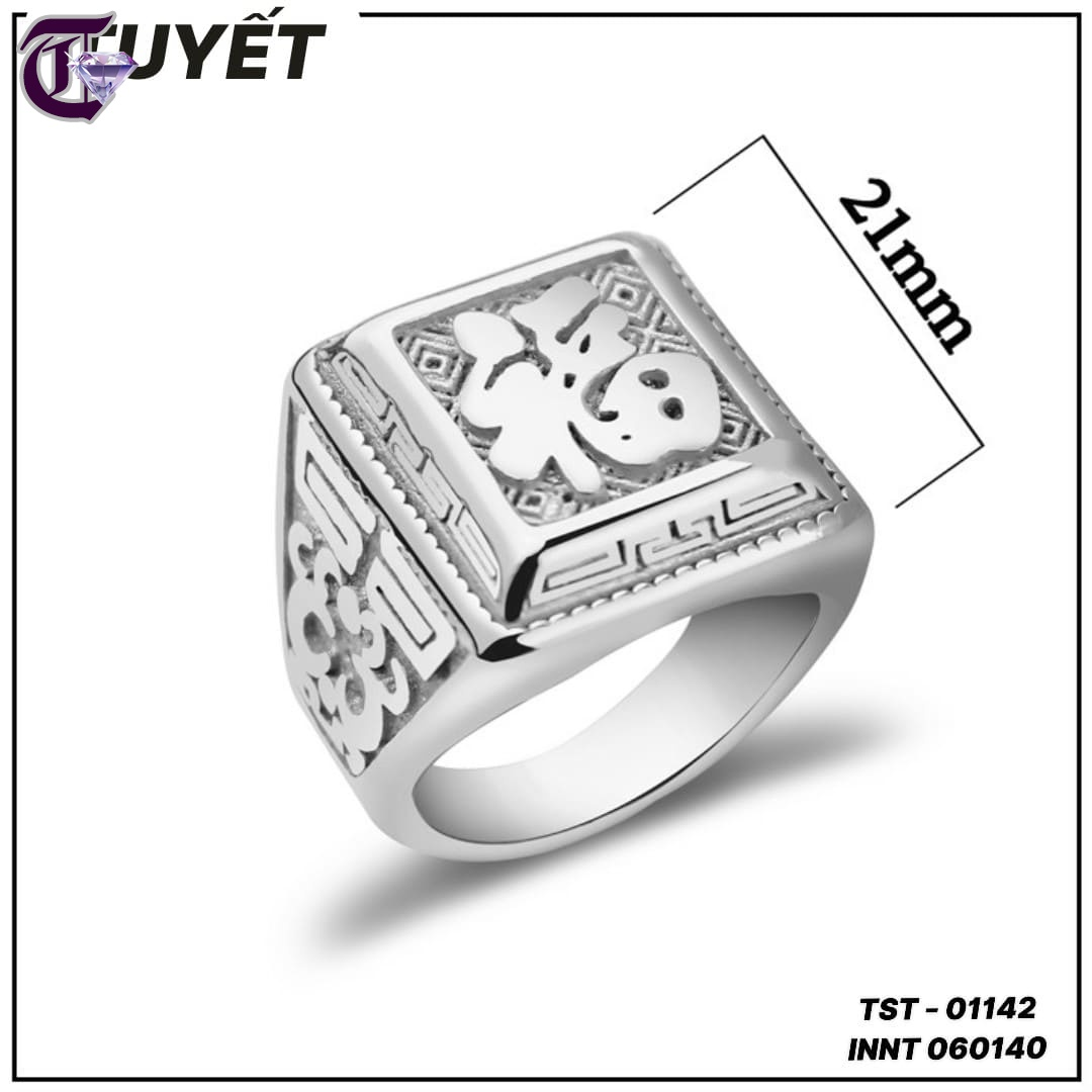 NHẪN NAM INOX CHỮ PHƯỚC MÀU TRẮNG INNT 01142