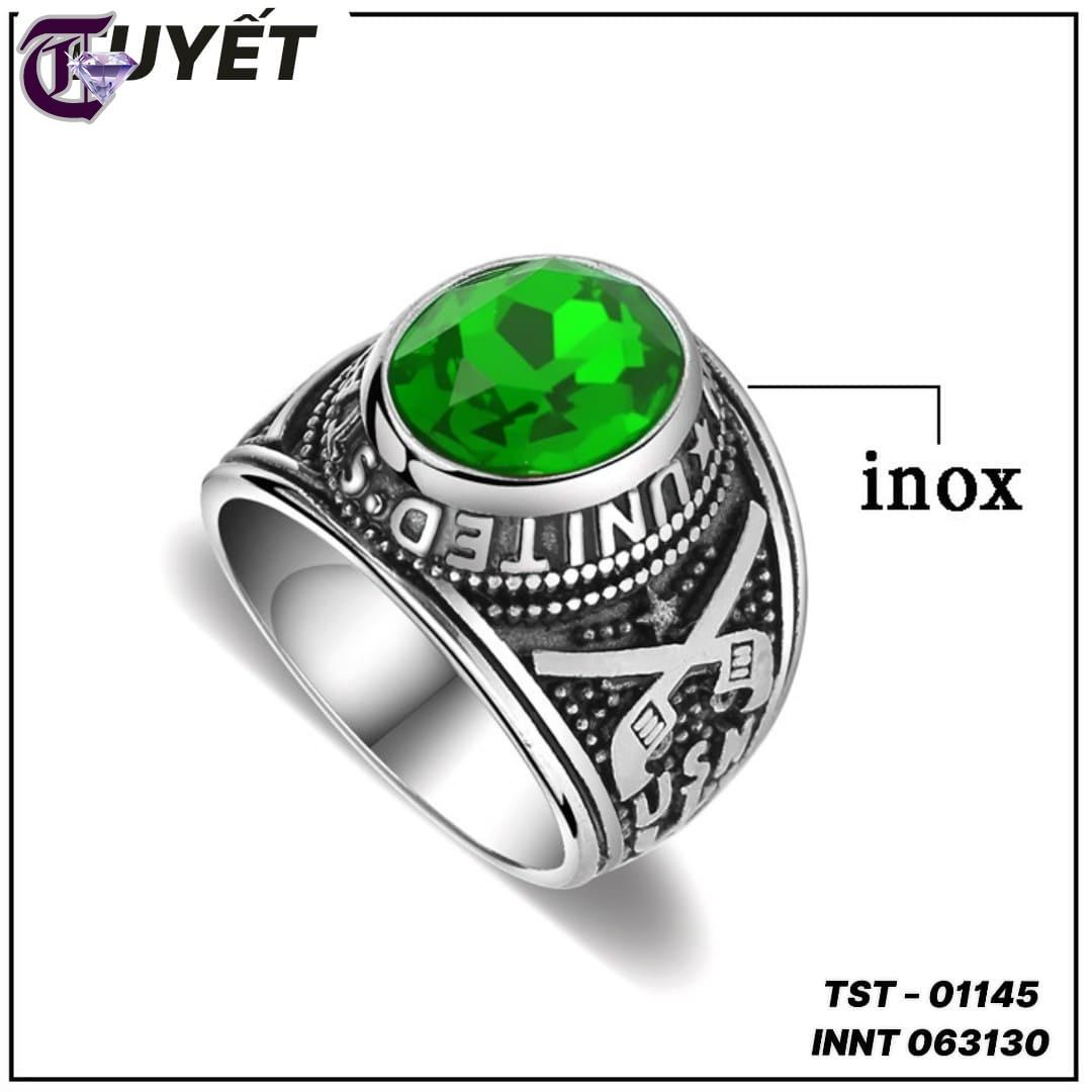 NHẪN NAM INOX QUÂN ĐỘI MỸ ĐÁ MÀU XANH LÁ INNT 01145