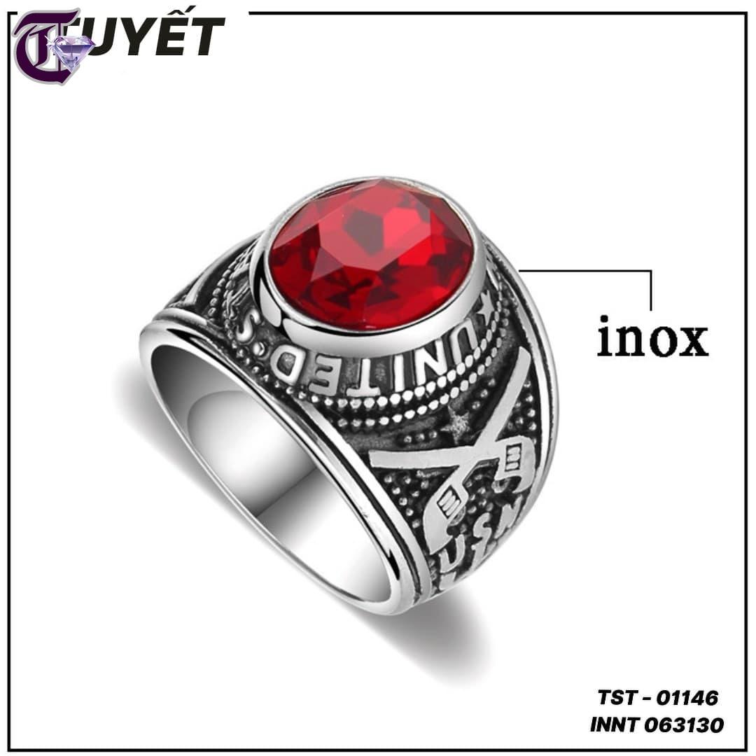 NHẪN NAM INOX QUÂN ĐỘI MỸ ĐÁ MÀU ĐỎ INNT 01146