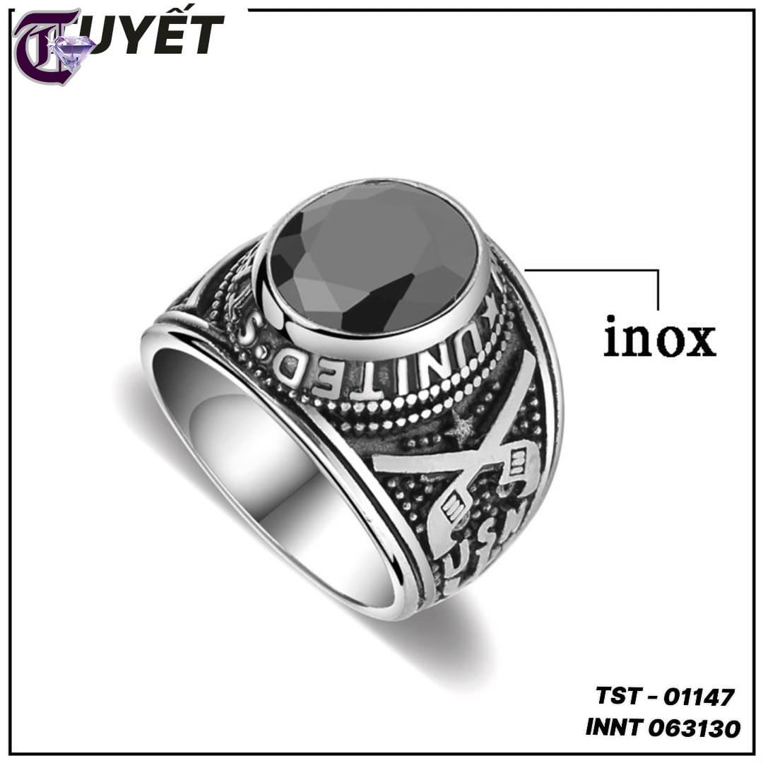 NHẪN NAM INOX QUÂN ĐỘI MỸ ĐÁ MÀU ĐEN INNT 01147